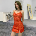 Dress Spring 2021 gules S,M,L Short skirt singleton  Sleeveless street V-neck High waist other Socket One pace skirt other camisole 18-24 years old Type H INSGOTH Printed, stitched, open back, split HD7576W0I 81% (inclusive) - 90% (inclusive) other polyester fiber Europe and America