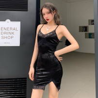 Dress Summer 2021 black S,M,L Short skirt singleton  Sleeveless street V-neck High waist Solid color Socket other other camisole 18-24 years old Type H INSGOTH Backless, stitching, lace, split 28546P 81% (inclusive) - 90% (inclusive) other polyester fiber Europe and America