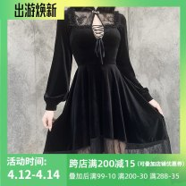 Dress Winter 2020 black S,M,L Mid length dress singleton  Long sleeves street stand collar High waist Solid color A button Big swing bishop sleeve Others 18-24 years old Type A INSGOTH Hollowed out, Gouhua hollowed out, lace, stitching, bandage, lace 22377P 81% (inclusive) - 90% (inclusive) velvet