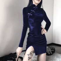 Dress Autumn of 2019 Black, blue, purple S,M,L,XL Short skirt singleton  Long sleeves street stand collar Elastic waist Solid color zipper One pace skirt routine Breast wrapping 18-24 years old Type O INSGOTH bow More than 95% other polyester fiber Punk
