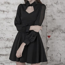 Dress Autumn 2020 black S,M,L Short skirt singleton  Long sleeves street tailored collar High waist Solid color Socket A-line skirt routine Others 18-24 years old Type A INSGOTH Splicing, mesh MG0637 91% (inclusive) - 95% (inclusive) other polyester fiber