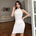Dress Summer 2021 White, black, khaki, pink S,M,L Short skirt singleton  Sleeveless street Polo collar High waist Solid color Socket other routine Hanging neck style 18-24 years old Type H INSGOTH Open back, button 23013p 81% (inclusive) - 90% (inclusive) other polyester fiber Europe and America