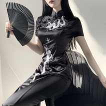 Dress Autumn of 2019 black S,M,L,XL,2XL,3XL Mid length dress singleton  Short sleeve street stand collar High waist other zipper Pencil skirt routine Others 18-24 years old Type X INSGOTH Zipper, print 71% (inclusive) - 80% (inclusive) other polyester fiber Punk