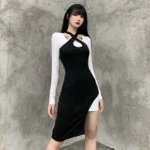 Dress Autumn 2020 Black and white S,M,L Middle-skirt Two piece set Long sleeves street Slant collar High waist Solid color Socket Irregular skirt routine Oblique shoulder 18-24 years old Type H INSGOTH Splicing, asymmetric 25381P 91% (inclusive) - 95% (inclusive) knitting cotton