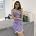 Dress Spring 2021 violet S,M,L Mid length dress singleton  Sleeveless street V-neck High waist lattice Socket One pace skirt routine camisole 18-24 years old Type H INSGOTH Backless, stitched, strapped D1737354 81% (inclusive) - 90% (inclusive) other polyester fiber Europe and America