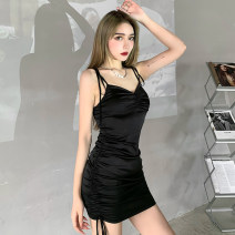 Dress Spring 2021 black S,M,L Short skirt singleton  Sleeveless street V-neck High waist Solid color Socket One pace skirt other camisole 18-24 years old Type H INSGOTH 81% (inclusive) - 90% (inclusive) other polyester fiber Europe and America