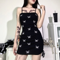 Dress Summer 2020 black S,M,L Short skirt singleton  Sleeveless street One word collar High waist Animal design Socket One pace skirt other camisole 18-24 years old Type H INSGOTH Embroidery, pleating 22135P 51% (inclusive) - 70% (inclusive) other cotton