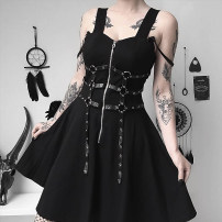 Dress Spring of 2019 black S,M,L Mid length dress singleton  Sleeveless street square neck Elastic waist Solid color zipper Big swing other straps 18-24 years old Type X INSGOTH zipper 91% (inclusive) - 95% (inclusive) other polyester fiber Punk