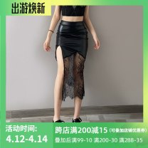 skirt Spring 2021 S,M,L black Mid length dress street High waist skirt other Type H 18-24 years old YBDK21J00254 51% (inclusive) - 70% (inclusive) Lace INSGOTH PU Gauze, lace Europe and America