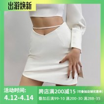 skirt Spring 2021 S,M,L White, black Short skirt street High waist A-line skirt Solid color Type A 18-24 years old 213023G 81% (inclusive) - 90% (inclusive) other INSGOTH polyester fiber Bandage Europe and America