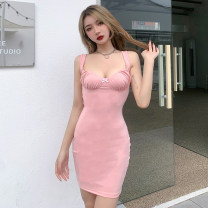 Dress Summer 2021 S,M,L Short skirt singleton  Sleeveless street V-neck middle-waisted Solid color Socket other other camisole 18-24 years old Type H INSGOTH Open back, fold 81% (inclusive) - 90% (inclusive) other polyester fiber Europe and America
