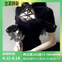 Dress Spring 2020 black S,M,L,XL Middle-skirt singleton  Short sleeve commute Half high collar High waist Solid color Socket other routine Others 18-24 years old Type X INSGOTH Retro Bandage 92514P More than 95% other polyester fiber