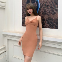 Dress Spring 2021 Yellow, black, brown S,M,L Short skirt singleton  Sleeveless street V-neck High waist Solid color Socket One pace skirt routine camisole 18-24 years old Type X INSGOTH Open back, fold, kink 25489P 81% (inclusive) - 90% (inclusive) other cotton Europe and America