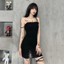 Dress Summer 2020 black S,M,L Short skirt singleton  Sleeveless street One word collar High waist Solid color Socket One pace skirt other camisole 18-24 years old Type H INSGOTH Lace up 28076P 81% (inclusive) - 90% (inclusive) other cotton