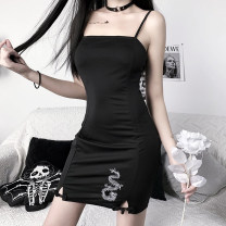Dress Summer 2020 black S,M,L Short skirt singleton  Sleeveless commute One word collar High waist Solid color Socket other other camisole 18-24 years old Type O INSGOTH Simplicity printing 22029P More than 95% other polyester fiber