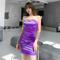 Dress Spring 2021 Purple, apricot S,M,L Short skirt singleton  Sleeveless street One word collar High waist Solid color Socket One pace skirt routine Breast wrapping 18-24 years old Type H INSGOTH Open back, fold 21536P 81% (inclusive) - 90% (inclusive) other polyester fiber Europe and America