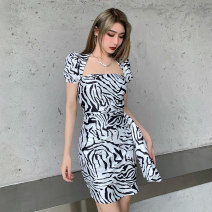 Dress Spring 2021 black S,M,L Short skirt singleton  Sleeveless street square neck High waist Zebra pattern Socket other routine camisole 18-24 years old Type H INSGOTH Splicing 215008G 81% (inclusive) - 90% (inclusive) other polyester fiber Europe and America