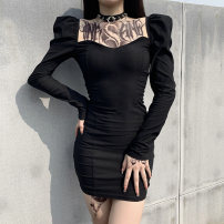 Dress Autumn 2020 black S,M,L Short skirt singleton  Long sleeves street square neck High waist Solid color Socket One pace skirt puff sleeve Others 25-29 years old Type H INSGOTH 81% (inclusive) - 90% (inclusive) other polyester fiber
