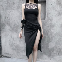 Dress Autumn 2020 black S,M,L Mid length dress singleton  Sleeveless street One word collar High waist Solid color Socket One pace skirt other camisole 18-24 years old Type H INSGOTH fold 22345P More than 95% other polyester fiber