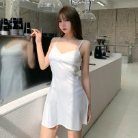 Dress Spring 2021 White, red, blue S,M,L Short skirt singleton  Sleeveless street V-neck High waist Solid color zipper A-line skirt other Others 18-24 years old Type A INSGOTH Open back, zipper, cross 25557P 81% (inclusive) - 90% (inclusive) other polyester fiber Europe and America