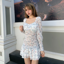 Dress Spring 2021 white S,M,L Short skirt singleton  Long sleeves street square neck High waist Broken flowers Socket A-line skirt routine Others 18-24 years old Type A INSGOTH printing MLSGD1350 81% (inclusive) - 90% (inclusive) other polyester fiber Europe and America