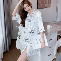 Nightdress Other / other White [letter], white [butterfly], white [positive and negative pure white] 160(M),165(L),170(XL),175(XXL) luxurious Short sleeve pajamas summer letter youth Shirt collar Iced silk printing More than 95% silk 200g and below