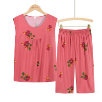 Middle aged and old women's wear Summer 2021 XL (about 85-105 kg recommended), XXL (about 105-120 kg recommended), 3XL (about 120-135 kg recommended), 4XL (about 135-155 kg recommended) leisure time suit easy Two piece set Flower and bird pattern Over 60 years old Socket thin Crew neck Pant