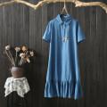 Dress Summer of 2019 blue XL,2XL,3XL,4XL Mid length dress singleton  Short sleeve commute Polo collar Loose waist other Socket Irregular skirt routine Others Type A pouilly angel Retro More than 95% Denim cotton