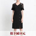 Dress Summer 2020 black L,XL,2XL,3XL,4XL,5XL Mid length dress singleton  Short sleeve commute V-neck middle-waisted Solid color Socket One pace skirt Lotus leaf sleeve Others 25-29 years old Type X Korean version Stitching, buttons, lace, ruffles More than 95% other polyester fiber