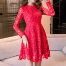 Dress Spring of 2018 White, red, black S,M,L,XL,2XL,3XL,4XL Middle-skirt singleton  Long sleeves commute stand collar middle-waisted Solid color Socket A-line skirt routine Others 30-34 years old Type A Korean version Lace, hook flower, hollow out More than 95% Lace polyester fiber