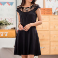 Dress Summer 2016 black S,M,L,XL,2XL,3XL Short skirt singleton  Short sleeve commute Crew neck middle-waisted Solid color Socket A-line skirt other Others 25-29 years old Type A Korean version Stitching, mesh, lace More than 95% knitting polyester fiber