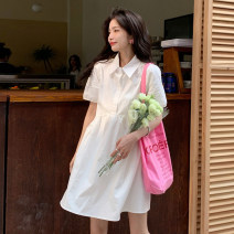 Dress Summer 2021 White, blue S, M Short skirt singleton  Short sleeve commute Polo collar Loose waist Solid color Single breasted other puff sleeve 18-24 years old Type A Korean version 30% and below other other