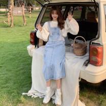 Dress Spring 2021 Apricot shirt, denim skirt Average size Mid length dress singleton  Sleeveless commute One word collar Loose waist straps 18-24 years old Type H Korean version 30% and below