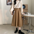 skirt Summer 2021 S. M, l, average size Apricot shirt, Khaki Skirt, black skirt longuette commute High waist A-line skirt Solid color Type A 18-24 years old 30% and below other Korean version