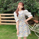 Dress Summer 2021 Shirt, suspender skirt S. M, average size Short skirt Two piece set Sleeveless commute One word collar High waist Broken flowers Socket Others 18-24 years old Type A Korean version 30% and below