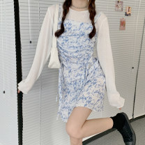 Dress Spring 2021 Dress, T-shirt Average size Short skirt Two piece set Sleeveless commute One word collar High waist other Socket A-line skirt camisole 18-24 years old Type A Korean version Pleating 30% and below