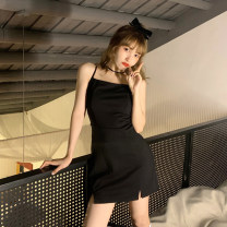 Dress Spring 2021 Dress S,M,L Short skirt singleton  Sleeveless commute High waist Solid color Socket One pace skirt camisole 18-24 years old Type A Korean version 30% and below other other