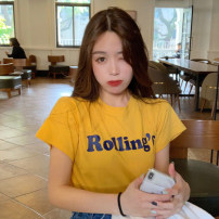 T-shirt Gray, white, red, yellow Average size Summer 2021 Long sleeves Crew neck easy Regular routine commute other 30% and below 18-24 years old Korean version Letters, solid color printing