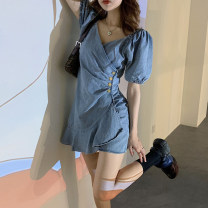 Dress Summer 2021 Picture color Average size Short skirt singleton  Short sleeve commute V-neck High waist puff sleeve 18-24 years old Type A Korean version 30% and below