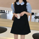 Dress Summer 2021 Blue shirt, vest and skirt Average size Short skirt Two piece set Sleeveless commute Crew neck Loose waist Solid color Socket A-line skirt Others 18-24 years old Type A Korean version 30% and below
