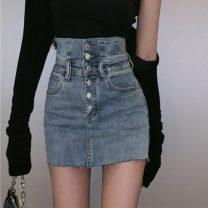 skirt Spring 2021 S. M, l, average size Black suspender, khaki suspender, black cardigan, black grey skirt, blue skirt Short skirt commute High waist skirt Type H 18-24 years old 30% and below Korean version