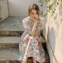 Dress Summer 2021 Floral Dress Average size longuette singleton  Short sleeve commute Crew neck High waist Broken flowers Socket A-line skirt puff sleeve 18-24 years old Type A Korean version 30% and below other other