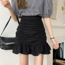 skirt Summer 2021 S,M,L White, black, yellow, pink Short skirt commute High waist A-line skirt Solid color Type A 18-24 years old 30% and below other other Korean version