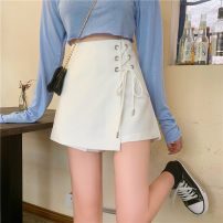 skirt Summer 2021 S,M,L White, black Short skirt commute High waist A-line skirt Solid color Type A 18-24 years old 30% and below Korean version