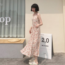 Dress Summer 2021 Apricot, red M, L longuette singleton  Sleeveless commute High waist Broken flowers Socket A-line skirt camisole 18-24 years old Type A Korean version 30% and below other other
