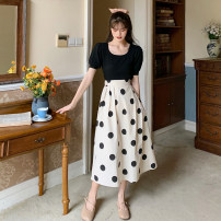 skirt Summer 2021 S. M, average size Black knit top, apricot polka dot skirt longuette commute High waist A-line skirt Dot Type A 18-24 years old 30% and below other Korean version