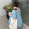 Dress Summer 2021 Apricot, blue Average size Mid length dress singleton  Short sleeve commute Crew neck Loose waist Solid color Socket A-line skirt puff sleeve Others 18-24 years old Type A Korean version 30% and below other other