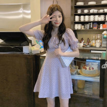 Dress Summer 2021 Graph color Average size Short skirt singleton  Short sleeve commute square neck High waist Dot Socket A-line skirt puff sleeve 18-24 years old Type A Korean version 30% and below other other