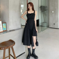 Dress Spring 2021 black S, M longuette singleton  Sleeveless commute One word collar High waist Solid color Socket Irregular skirt camisole 18-24 years old Type A Retro 30% and below other other