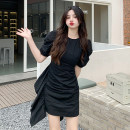 Dress Summer 2021 Black, check Average size Short skirt singleton  Short sleeve commute Crew neck High waist lattice Socket other puff sleeve 18-24 years old Type A Retro 30% and below other other